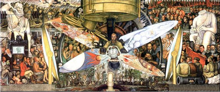 A recreation by Diego Rivera of Man at the Crossroads, his mural that was almost in Rockefeller Center. Amazingly, it included Lenin leading the oppressed masses. Even more amazingly it was commissioned by Nelson Rockefeller. Not so amazingly, he suddenly remembered who he was and had it torn down before it was finished.