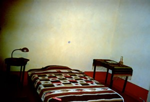 The Trotsky's bedroom with bullet holes