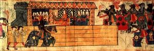 Catalina de Aragon watching Henry VIII joust. Artist unknown.