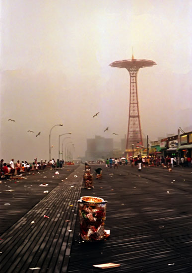 Coney Island had a multi-decades slide down hill from it's glory days before this recent revival so I was especially happy to see all those kids having all that fun. Here's the boardwalk in 1998. Photo: Jim Blythe
