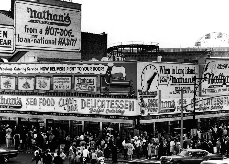 Nathan's in 1950. It's mega-corp overlords in their wisdom have left the Coney Island branch pretty much the same.