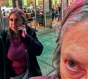 Marilyn calls her husband Steve to meet us for dinner. Steve is not a Coney Islandphile like the three of us. Photo: cell selfie by Sheila